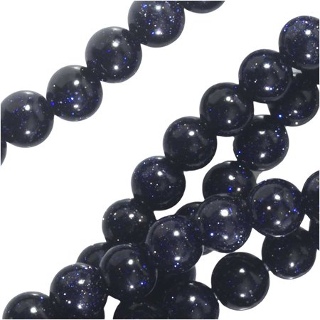 Goldstone Gemstone Beads - Dakota Stones Gemstone Beads, Blue Goldstone, Round 4mm, 8 Inch Strand