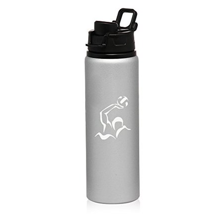 25 oz Aluminum Sports Water Travel Bottle Water Polo (Silver)