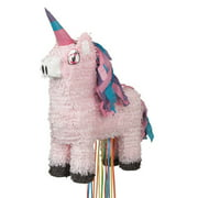 Pink Unicorn Pull String Pinata, 22in x 13.5in