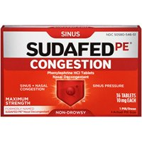 2 Pack Sudafed PE Sinus Congestion Non-Drowsy Max Strength 36 Tablets Each