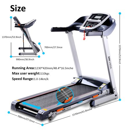 Electric Folding Treadmill with Heart Rate Monitor New Model Commercial Treadmill Health