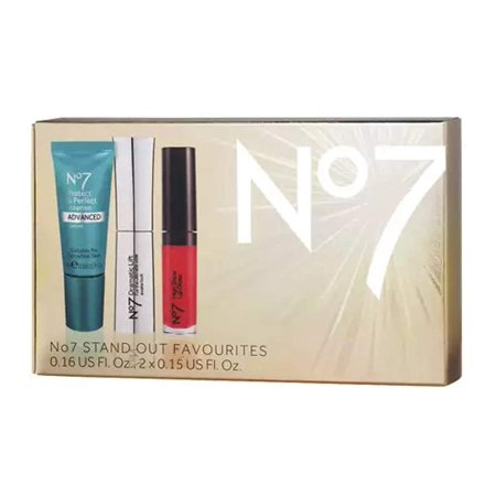 Boots No7 Stand Out Favorites Gift Box including Protect and Perfect Intense Advance Serum, High Shine Lip Gloss Roaring Red and Dramatic Lift Mascara Black, No7 Stand.., By No