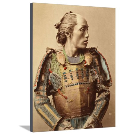 - Portrait of a Samurai of Old Japan Armed with Full Body Armour, 1890 (Hand Coloured Albumen Photo) Stretched Canvas Print Wall Art