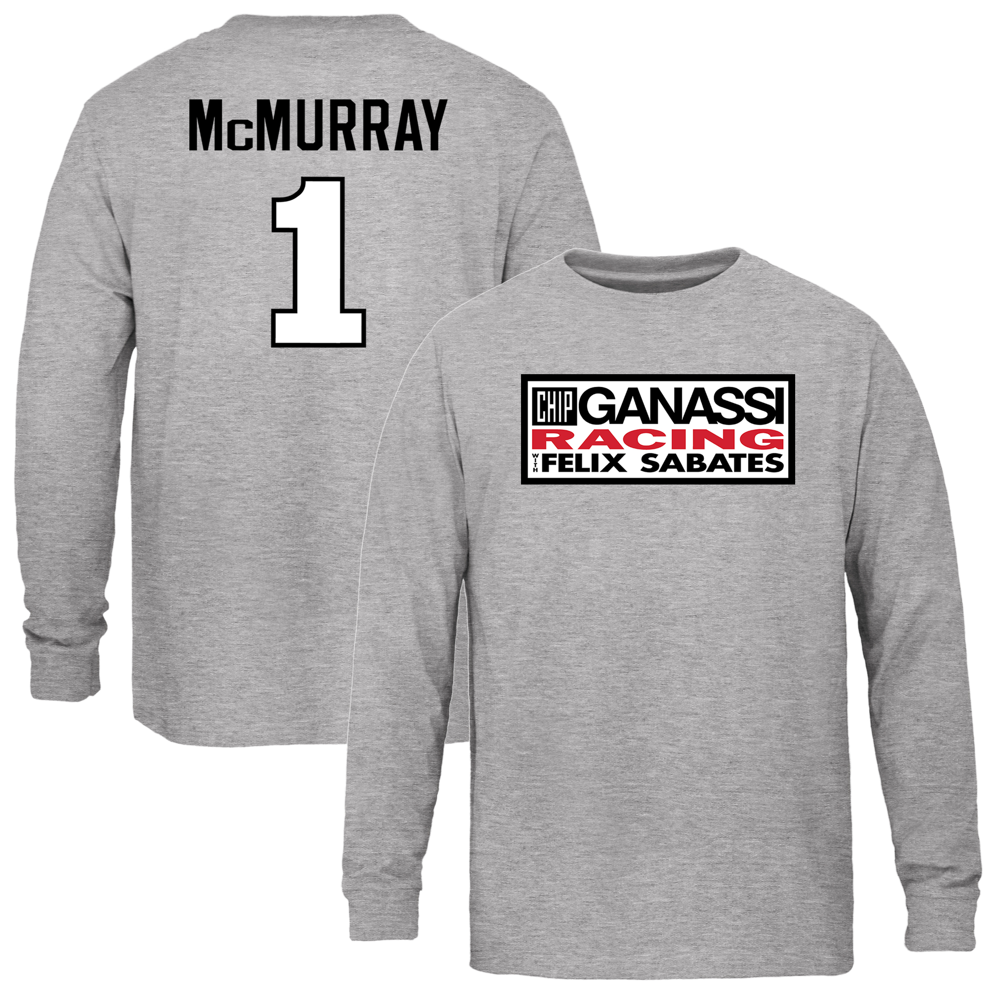 Jamie McMurray Youth Driver Name & Number Long Sleeve T-Shirt - Ash