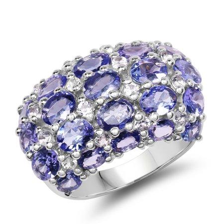 925 Sterling Silver Genuine Tanzanite and White Topaz Ring (7.29 Carat) Multiple (Carats Genuine Tanzanite Ring)