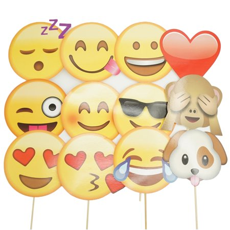 12 Pcs Funny Photo Props on a Stick Creative Happy Face Photo Booth Posing Props for Birthday Party Wedding Decoration