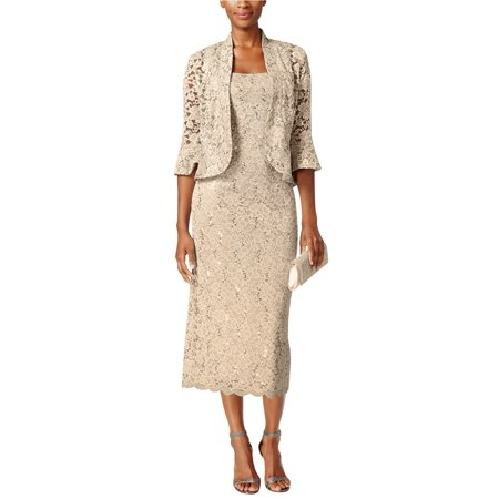 RM Richards Women's Sequin Lace Dress with Jacket-Mother of the Bride Dresses - Sequin Lace Dress