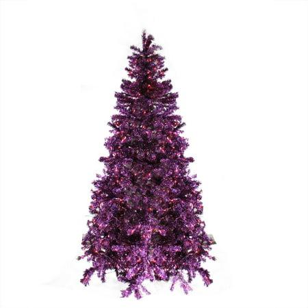 7' Pre-Lit Sparkling Purple Artificial Christmas Tree - Purple ...
