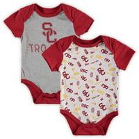 USC Trojans Newborn & Infant Jaymes Two-Pack Bodysuit Set - Gray/White