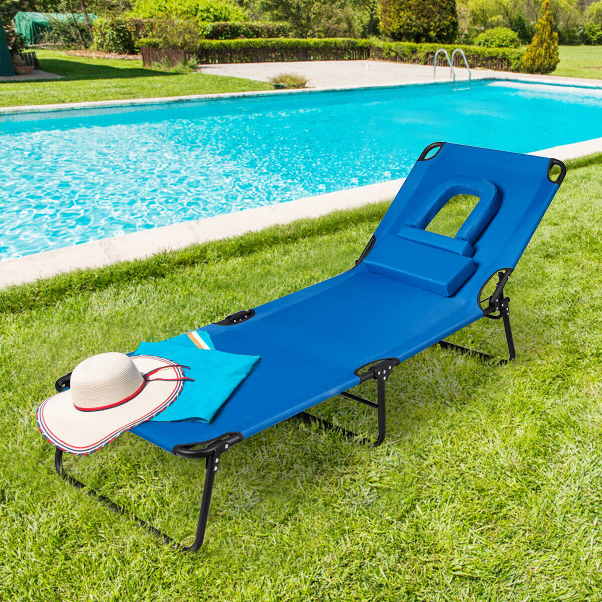Adjustable 4 Recliner Positions Steel Frame Oxford Folding Camping Bed Cot with Removable Pillow for Outdoor Camping Sunbathing Beach Pool Garden Yard Portable Folding Chaise Lounge Chair Blue