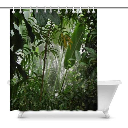 MKHERT Tropical Rainforest Scene Misty Palm Tree Jungle Waterproof Shower Curtain Decor Fabric Bathroom Set Hooks 60x72 inch (Palm Tree Bathroom Decor)