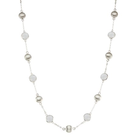 5th & Main Sterling Silver Bead and Bezel Short Necklace with Moon Stone Round Gemstones (Short Bead Necklaces)
