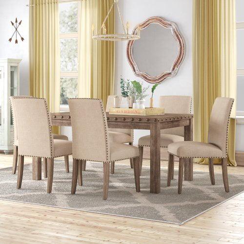 Gracie Oaks Mach 7 Piece Solid Wood Dining Set