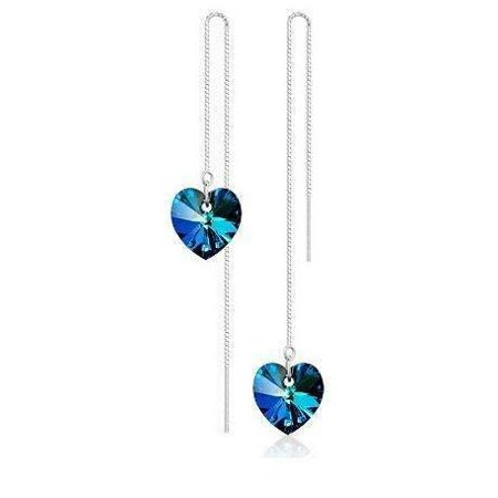 CLEARANCE - Aqua Blue Austrian Crystal Heart Silver Thread Earrings - Aqua Glass Beaded Earrings