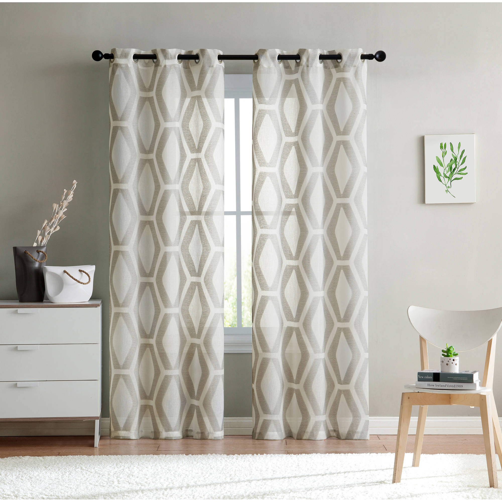 VCNY Home Geometric Embroidered Sheer Gabrielle Grommet Top Window Curtains, Set of 2, Multiple Sizes and Colors Available