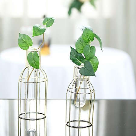 BalsaCircle 2 Gold Metal Geometric Bottles with Clear Glass Tubes Flower Vase Holders Wedding Party Event Home Centerpieces Supplies ()