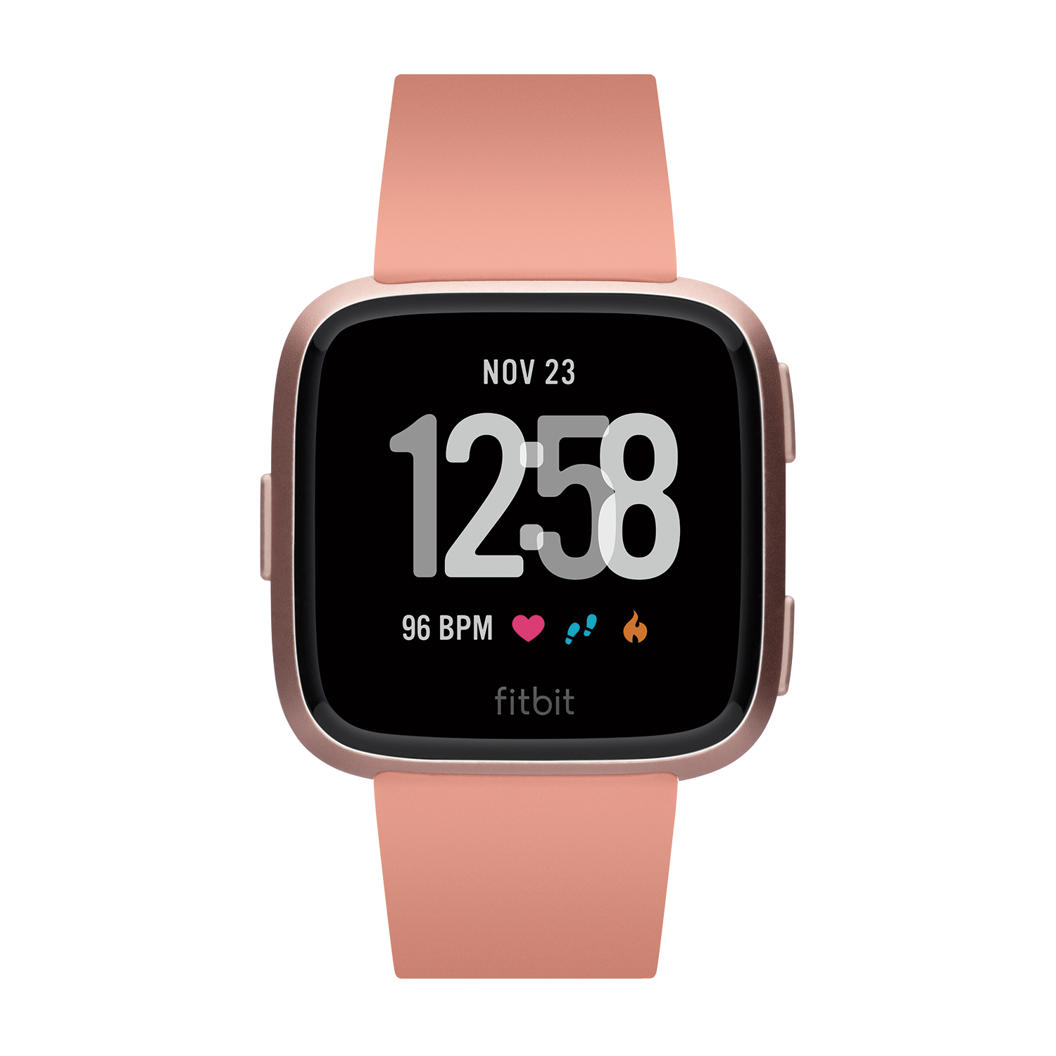 Refurbished Fitbit B504RGPK Versa Smart Watch, Peach/Rose Gold