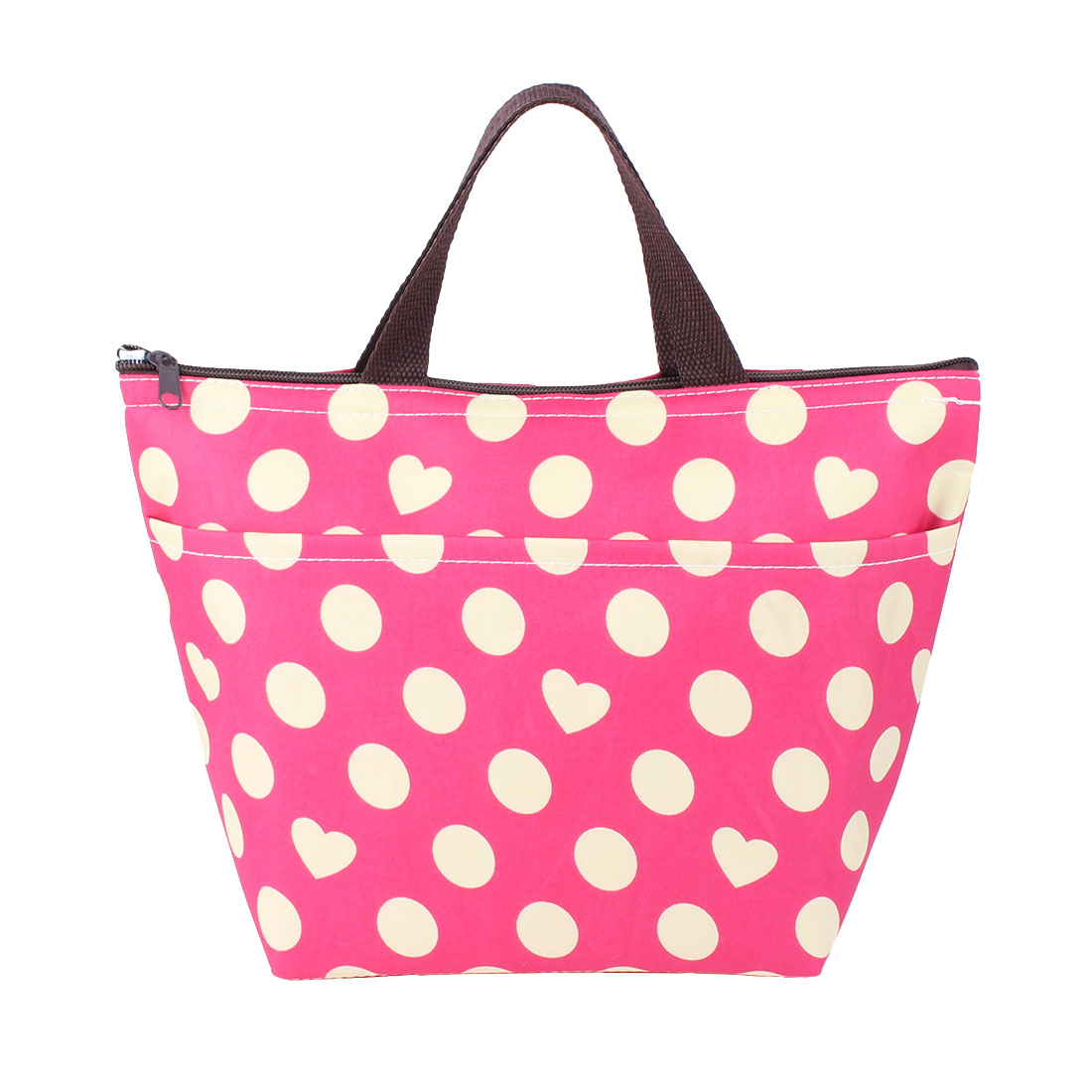 Women Outdoor Dot Heart Printing Insulated Cooler Lunch Tote Bag Picnic Box