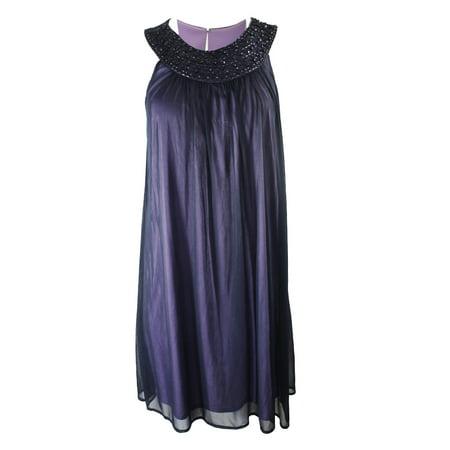 Jessica Rabbit Dresses (JESSICA HOWARD Womens Purple Sequined Beaded Sleeveless Jewel Neck Knee Length Shift Cocktail Dress  Size:)