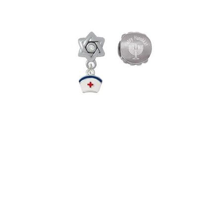 Silvertone Mini Nurse Hat Happy Hanukkah Charm Beads (Set of 2) (Hanukkah Hat)