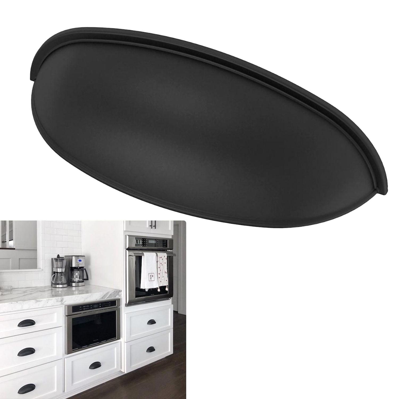 Matte Flat Black Cabinet Hardware Bin Pull 3 Hole Center Drawer Handle Modern Farmhouse Kitchen Walmart Com Walmart Com