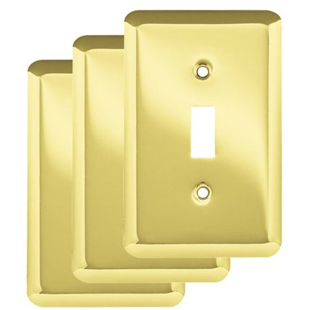 Franklin Brass Stamped Round Single Switch Wall Plate in Polished Brass, 3-Pack ()