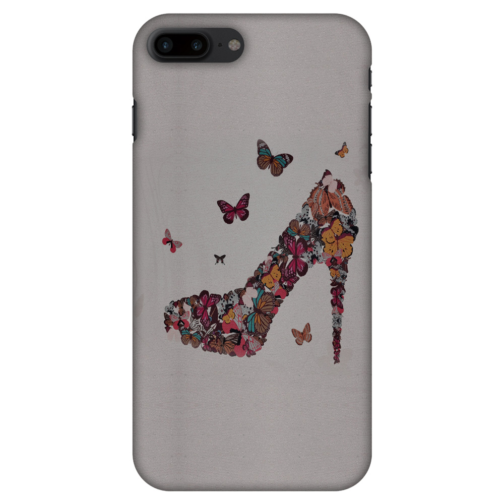 iPhone 8 Plus Case - Butterfly High Heels, Hard Plastic Back Cover. Slim Profile Cute Printed Designer Snap on Case with Screen Cleaning Kit