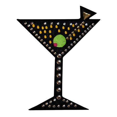 ID 1942 Studded Martini Glass Patch Alcoholic Drink Bar Club Iron On Applique (Easy Halloween Drinks Alcoholic)