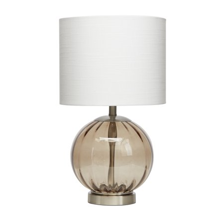 Better Homes & Gardens Smoke Glass Sphere Table Lamp, Brushed Nickel Finish