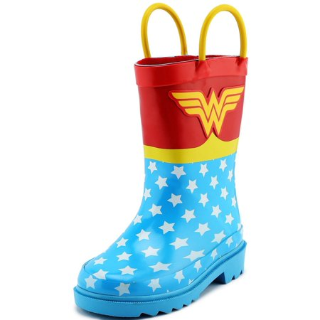 DC Comics Children's Girls' Wonder Woman Printed Waterproof Easy-On Rubber Rain Boots (Toddler/Little Kids) ](Girls Dc Boots)