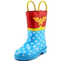 DC Comics Children's Girls' Wonder Woman Printed Waterproof Easy-On Rubber Rain Boots (Toddler/Little Kids)