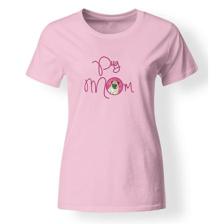 Hockey Mom Adult T-shirt - Pink Pug Mom T-shirt Ladies