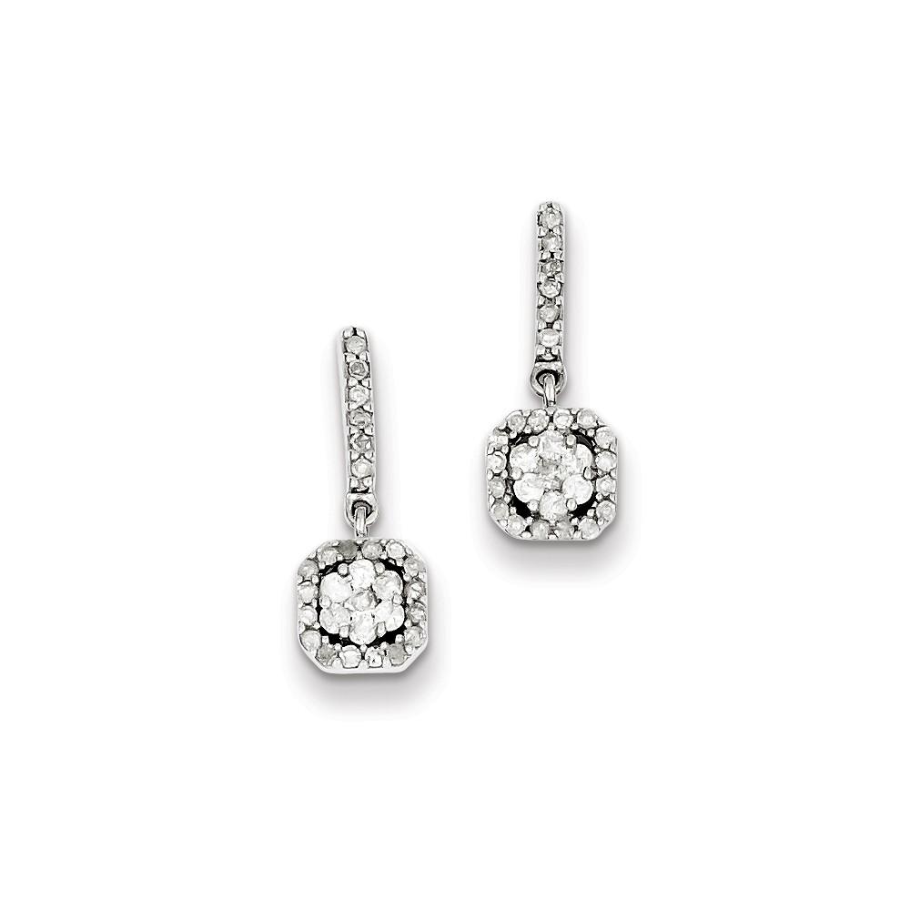 Sterling Silver 0.6IN Long Diamond Earrings