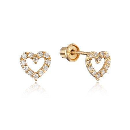 14k Yellow Gold White Heart Cubic Zirconia Children Screwback Baby Girls (Baby White Earrings)