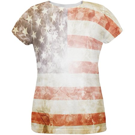 4th of July American National Anthem Flag and Lyrics All Over Womens T