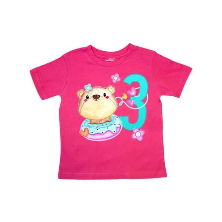 Third Birthday cute bear and donut Toddler T-Shirt - Birthday Donuts