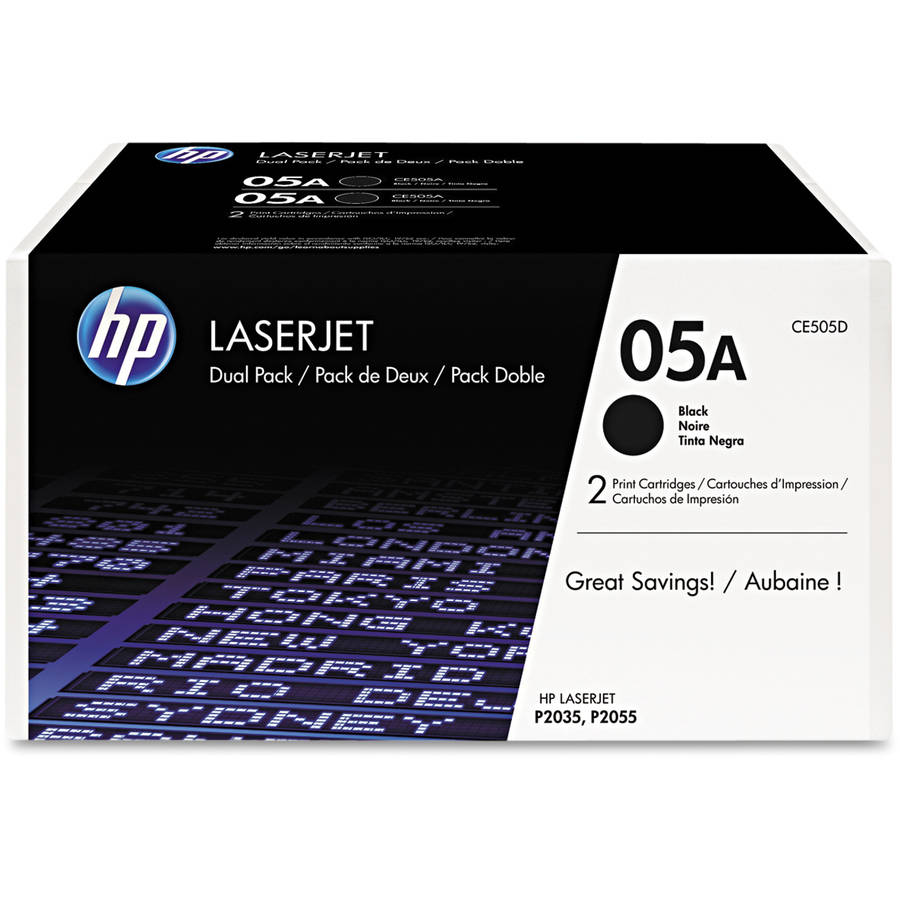 HP 05A (CE505D) Black Original Laser Jet Toner Cartridges, 2pack