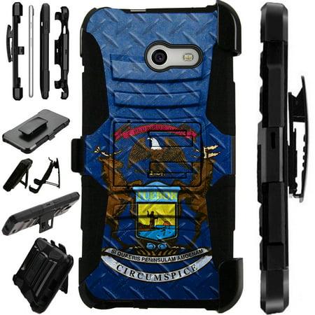 LuxGuard Phone Case Cover For Samsung Galaxy J3 Emerge | J3 Mission | J3 Eclipse | J3 Luna Pro (Michigan Flag