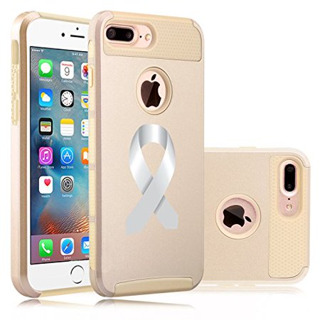 For Apple iPhone (7 Plus) Shockproof Impact Hard Soft Case Cover Diabetes Brain Cancer Parkinson's Disease Lung Cancer Color Awareness Ribbon (Gold) (Diabetes Awareness Color)