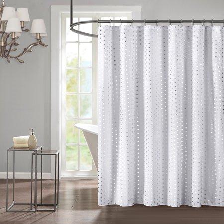 Mainstays Modern Silver Metallic Shower Curtain 1 Each