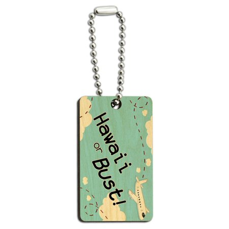 Hawaii or Bust - Flying Airplane Wood Rectangle Key Chain
