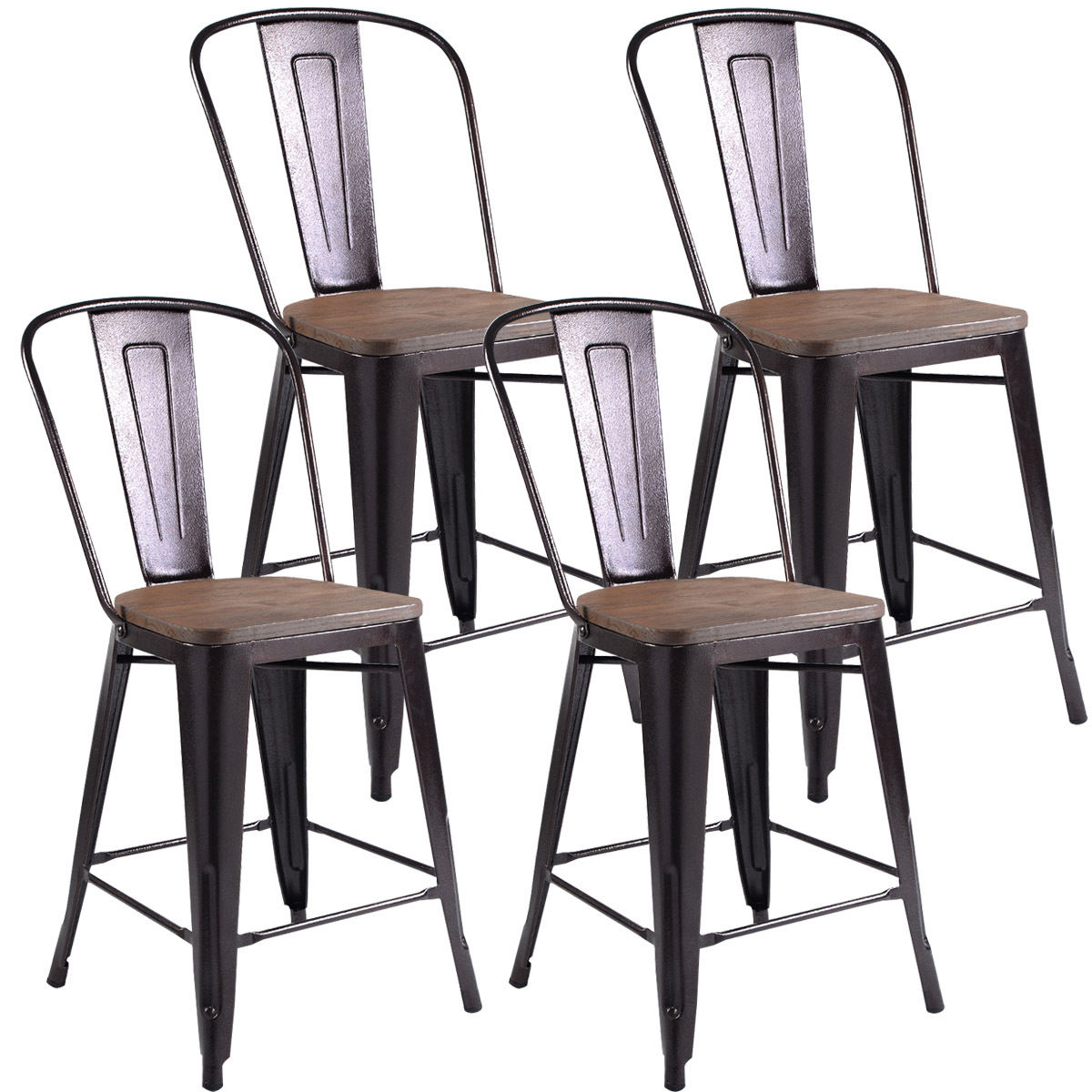 Costway Copper Set of 4 Metal Wood Counter Stool Kitchen