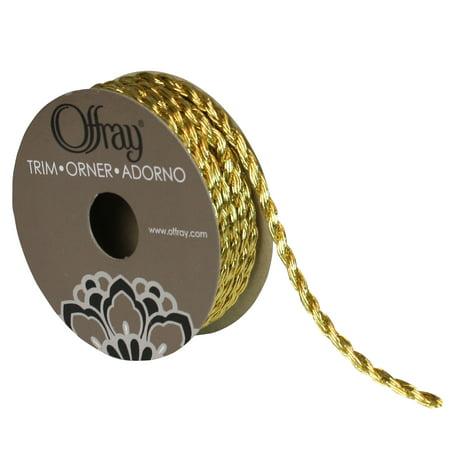 "Offray 3/16"" Gold Metallic Cord Trim, 1 Each"