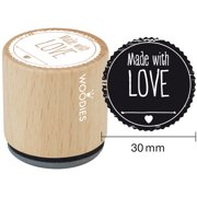 """Woodies Mounted Rubber Stamp 1.35""""-Made With Love"""