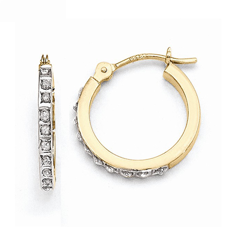 - 14K Yellow Gold Illusion Set Circle Diamond Hoop Earrings - 15mm