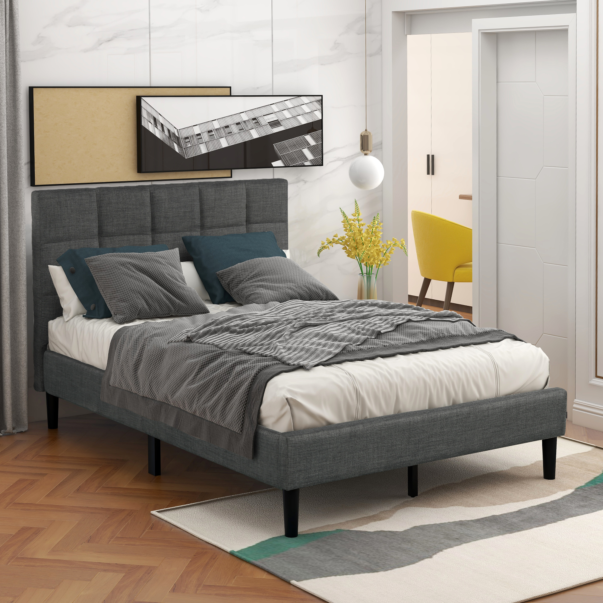 Gray Twin Bed Frame for Adults Kids, Modern Upholstered Platform