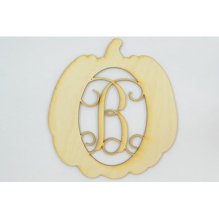 "1 Pc, Small 5.75"" X 6.25"" X 1/8 Inch Thick Pumpkin Framed Monogram w/Vine Font Letter B Perfect For Diy Fall & Home Decor"