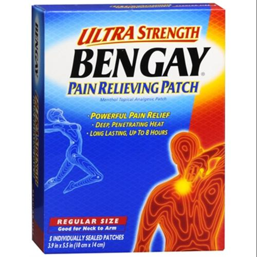 BENGAY Pain Relieving Patches Ultra Strength Regular Size 5 Each (Pack of 3)