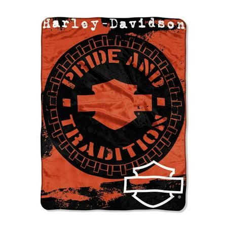 Harley-Davidson Wheels Micro Raschel Throw Blanket, Black & Orange NW047099, Harley (Harley Davidson Throw Blankets)