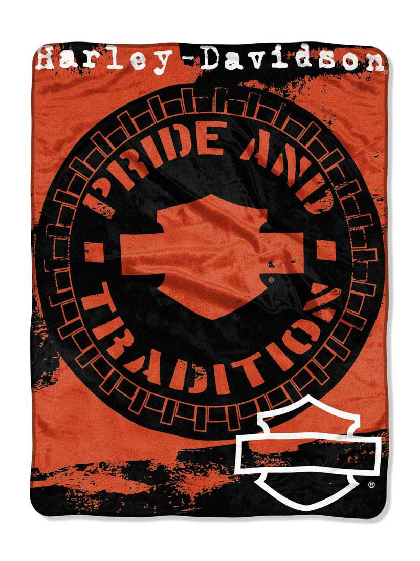 Harley-Davidson Wheels Micro Raschel Throw Blanket